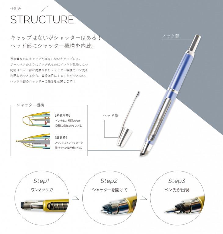 キャップレス万年筆の構造